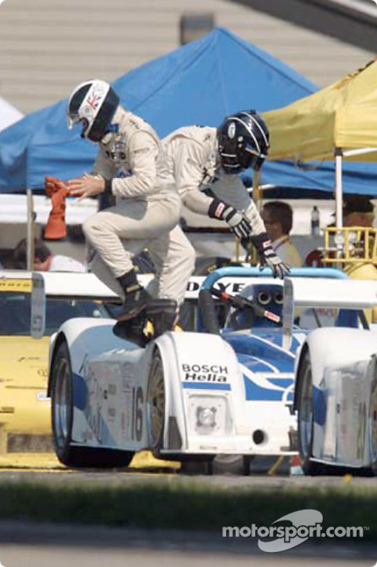 James Weaver and Butch Leitzinger practice driver changes