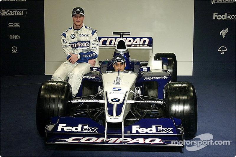 Ralf Schumacher et Juan Pablo Montoya avec la nouvelle WilliamsF1 BMW FW24