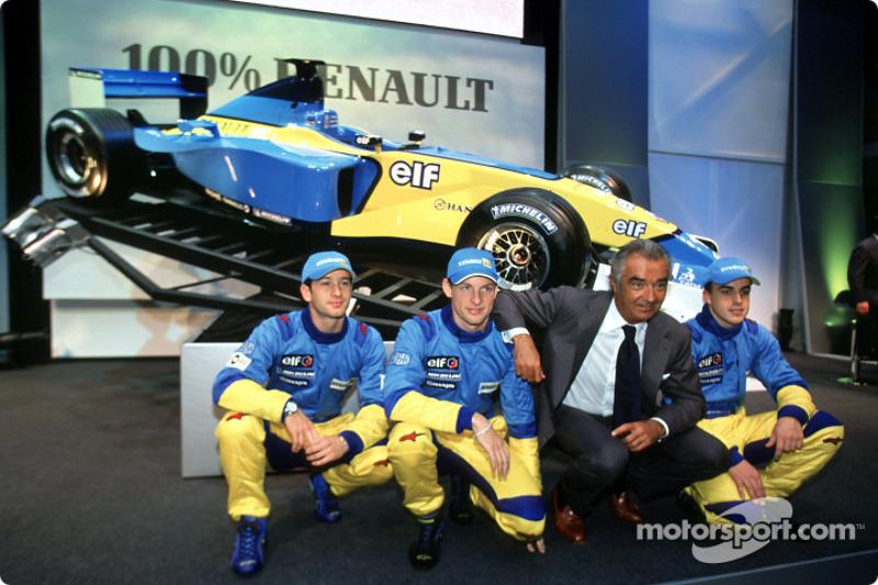 Jarno Trulli, Jenson Button, Flavio Briatore and Fernando Alonso