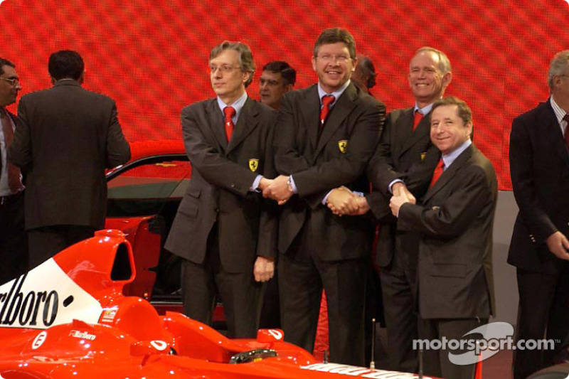 Paolo Martinelli, Ross Brawn, Rory Byrne and Jean Todt