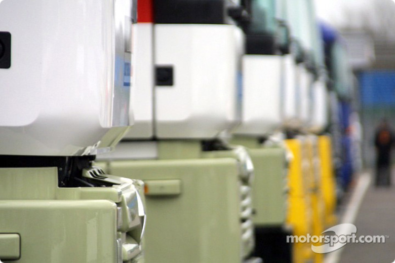 Team trucks in the paddock