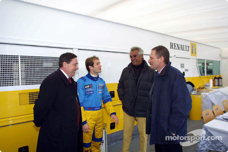 Patrick Faure, Jarno Trulli, Flavio Briatore and Jean-Jacques His