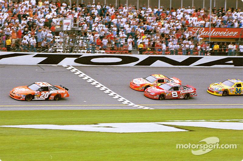 Checkered flag: race winner Tony Stewart, Dale Earnhardt Jr., Jeff Gordon and Ken Schrader