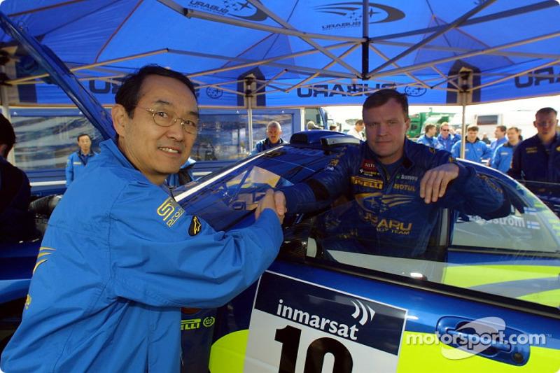 Subaru President Takenaka with Tommi Makinen