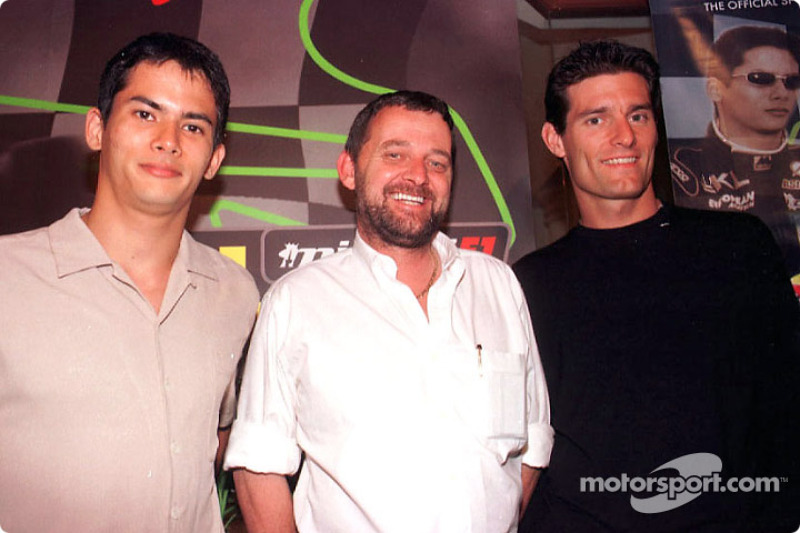 Sponsorship ceremony for Pan Global in Kuala Lumpur: Alex Yoong, Paul Stoddart and Mark Webber