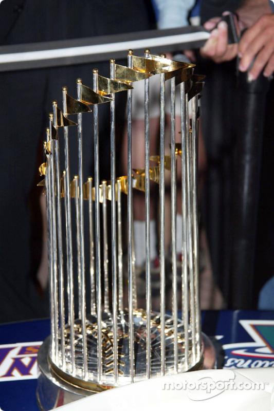 The 2001 World Series Champions trophy won by the Arizona Diamondbacks