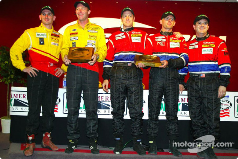 The SRPII podium finishers at the Grand American 400