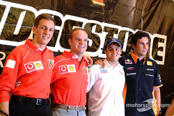 Bridgestone press conference: Luciano Burti, Rubens Barrichello, Felipe Massa and Enrique Bernoldi