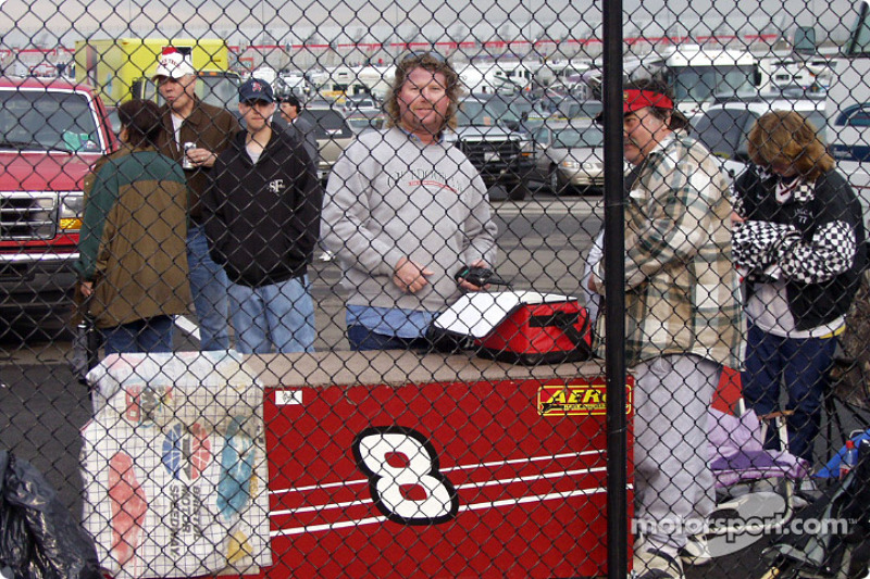 Home made cart for their stuff: Earnhardt fans, probably