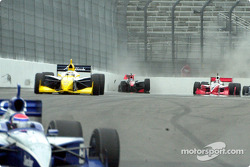 Jon Herb hits the wall then shoots down the front straight-away