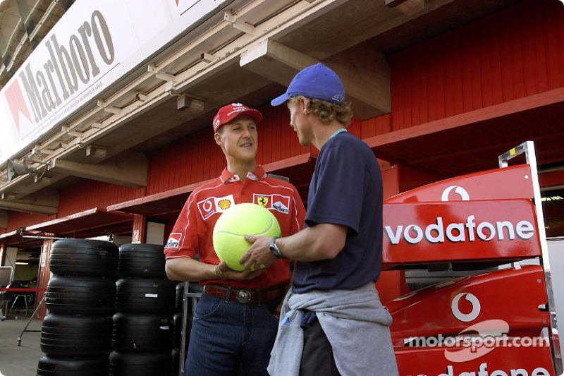 Michael Schumacher and Australian tennis champion Lleyton Hewitt
