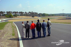 Panoz drivers check out the new additions to the Le Mans 24 Hours circuit
