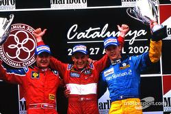 Le podium : le vainqueur Enrico Toccacello, Tomas Enge et Sébastien Bourdais