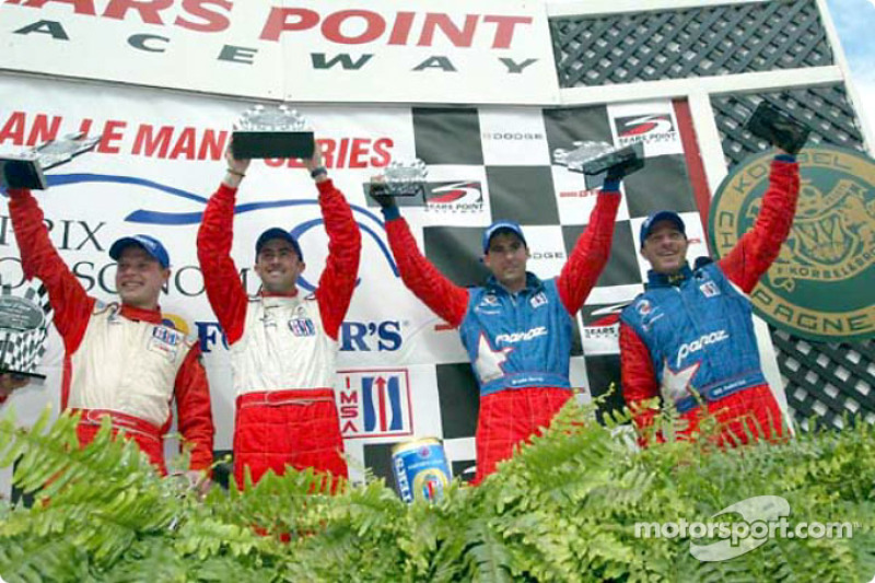 The podium: Jan Magnussen, David Brabham, Bryan Herta and Bill Auberlen