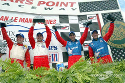 The podium: Jan Magnussen, David Brabham, Bryan Herta and Bill Auberlen