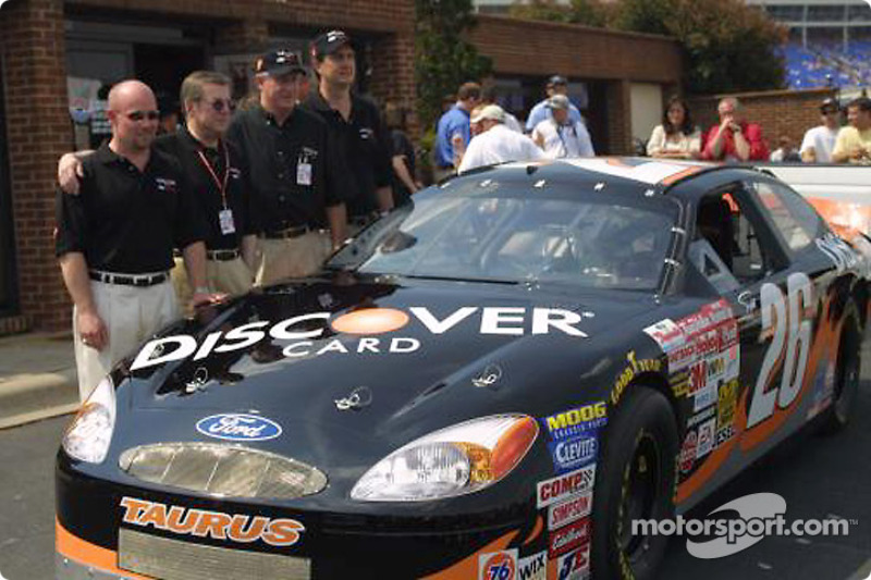 Carl Haas and Todd Bodine presenting the new Discover card car