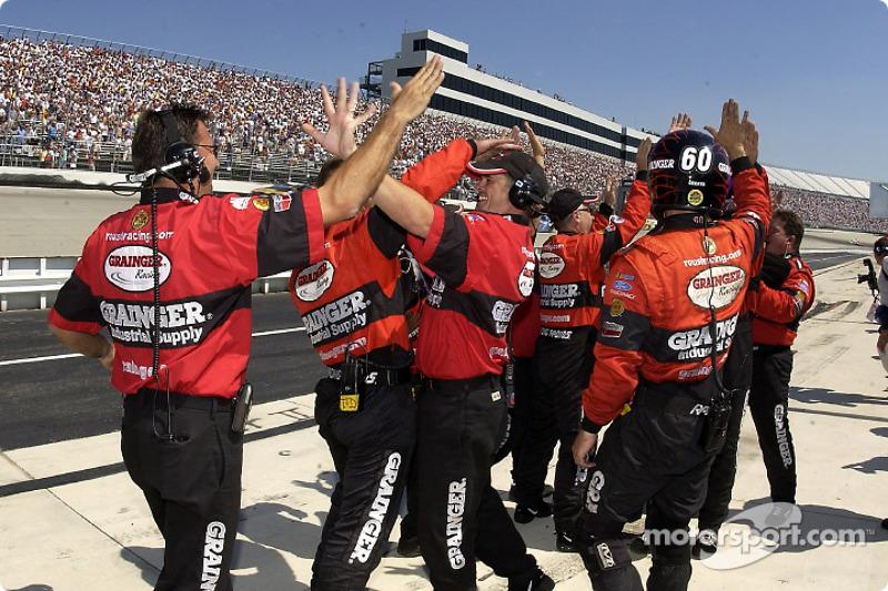 The Roush Racing crew celebrating Greg Biffle's victory