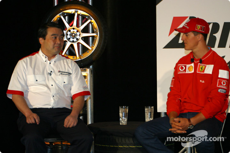 Bridgestone Motorsport / Scuderia Ferrari press conference: Hirohide Hamashima and Michael Schumache
