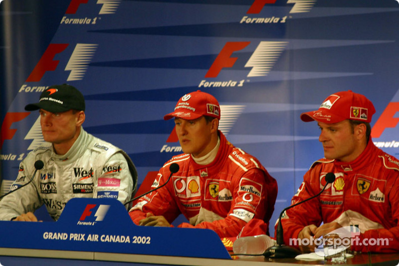 Press conference: race winner Michael Schumacher with David Coulthard and Rubens Barrichello