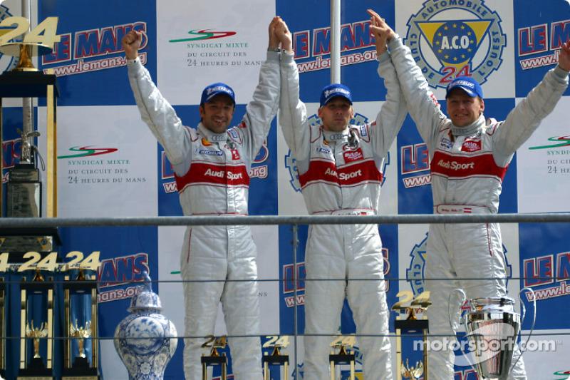 El podio general y el de la LMP 900 - LM GTP: tercer lugar Michael Krumm, Marco Werner y Philipp Peter