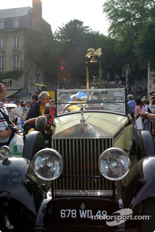 The Flying Lady presenting the 24 Hours of Le Mans trophy