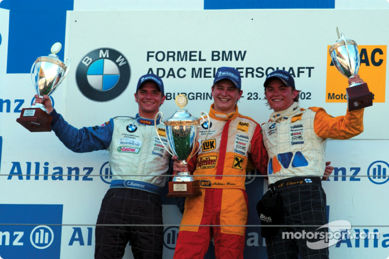 Formula BMW ADAC Championship 1st heat winner Hannes Neuhauser with Christian Mamerow and Nico Rosberg