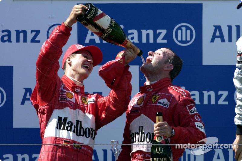 Race winner Rubens Barrichello on the podium