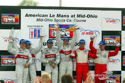 The podium: race winners Emanuele Pirro and Frank Biela with Tom Kristensen, Rinaldo Capello, David Brabham and Jan Magnussen