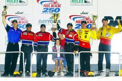 The SportsRacing Prototype II podium finishers at the Jani-King Paul Revere 250