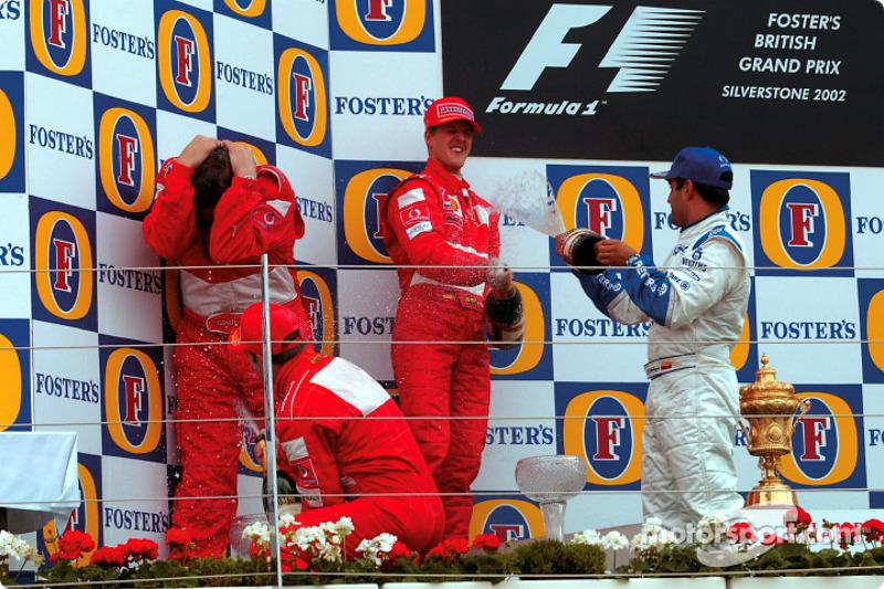 Podio de F1 en Silverstone 2002: 1. Michael Schumacher, 2. Rubens Barrichello, 3. Juan Pablo Montoya