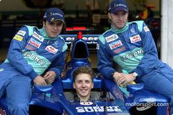 Felipe Massa y Nick Heidfeld con un invitado