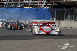First corner: Emanuele Pirro leading, Steve Knight in trouble
