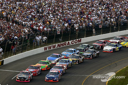 The start: Greg Biffle and Jason Keller leading the field