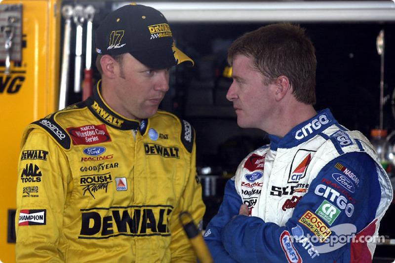 Los compañeros en el Roush Racing Matt Kenseth y Jeff Burton