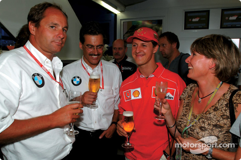 BMW Motorsport Director Mario Theissen celebrating his 50th birthday with friends: Gerhard Berger, M