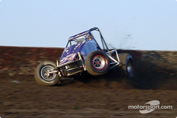 Jack DeArmond of Corona, Calif., tags the wall in turn 3 during qualifications Friday at Lakeside Speedway during the SCRA Non-Winged World Championship stop