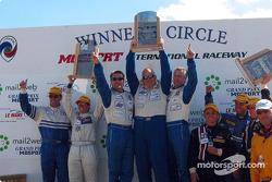 The LMP 675 podium: winners Jeff Bucknum, Bryan Willman and Chris McMurry with Ross Bentley, Melanie Paterson, Ben Devlin, David Sterenberg and Marc-Antoine Camirand
