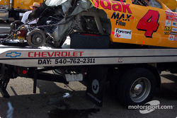 Mike Skinner's wrecked Kodak Chevy after his accident