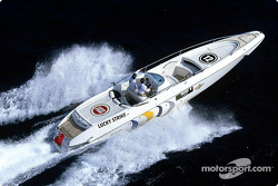 Olivier Panis trying a powerboat
