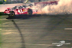 Jimmy Spencer in a trail of sparks