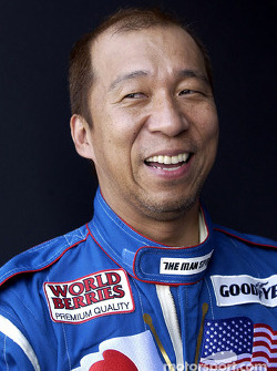 A happy Hideo Fukuyama after learning he had made the field for the MBNA All Americam Heroes 400