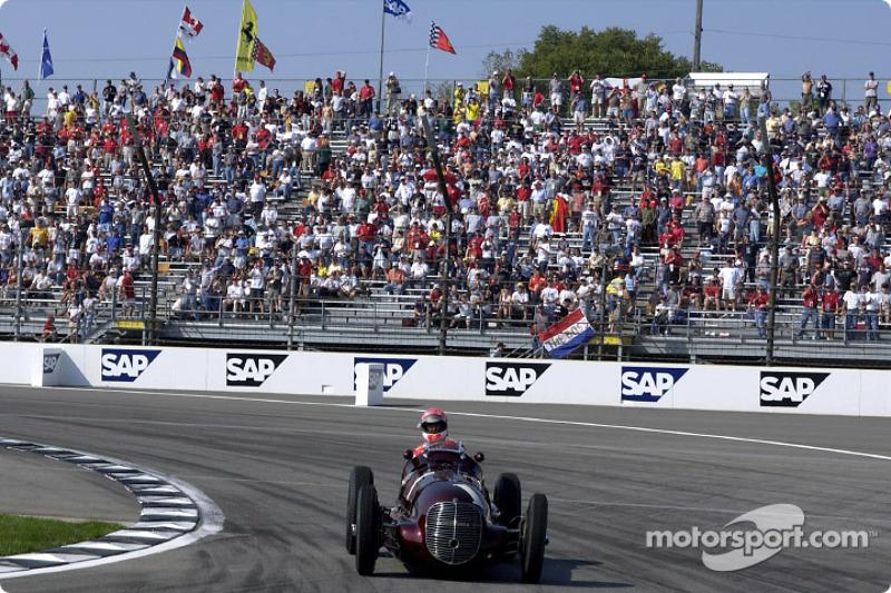 Michael Schumacher drives the Maserati 8CTF