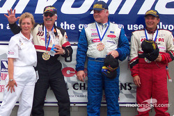 The podium: race winner Michael Cyphert with Larry Hansen and Terry Watson