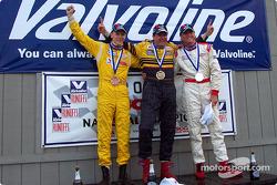 The podium: race winner Mike Biangardi with Larry Connor and Rennie Clayton
