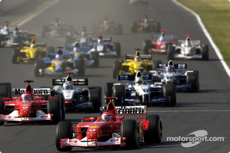 start: Michael Schumacher takes lead front, Rubens Barrichello