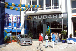 Tommi Makinen at the opening of a new Subaru dealership in Athens