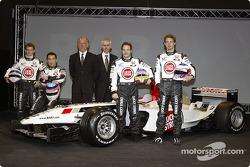 Anthony Davidson, Takuma Sato, David Richards, Geoffrey Willis, Jenson Button and Jacques Villeneuve