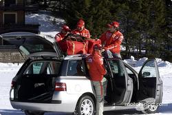 Rubens Barrichello, Luciano Burti, Michael Schumacher and Luca Badoer