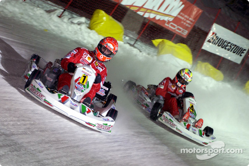 The kart race: Michael Schumacher and Luciano Burti