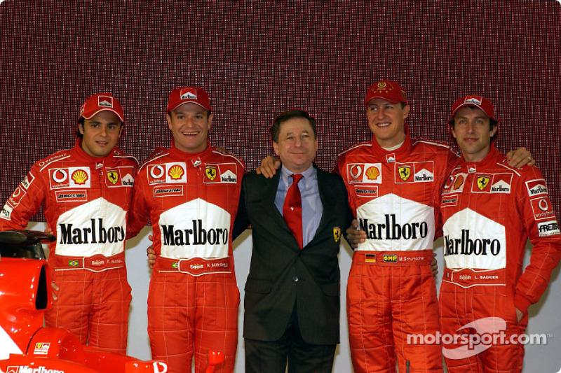 Felipe Massa, Rubens Barrichello, Jean Todt, Michael Schumacher and Luca Badoer with new Ferrari F2003-GA